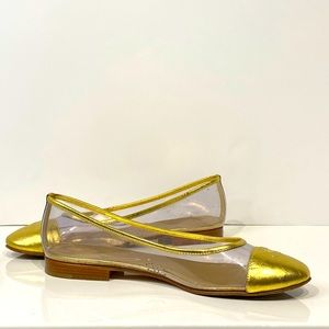 CHANEL  gold and clear ballet flats
